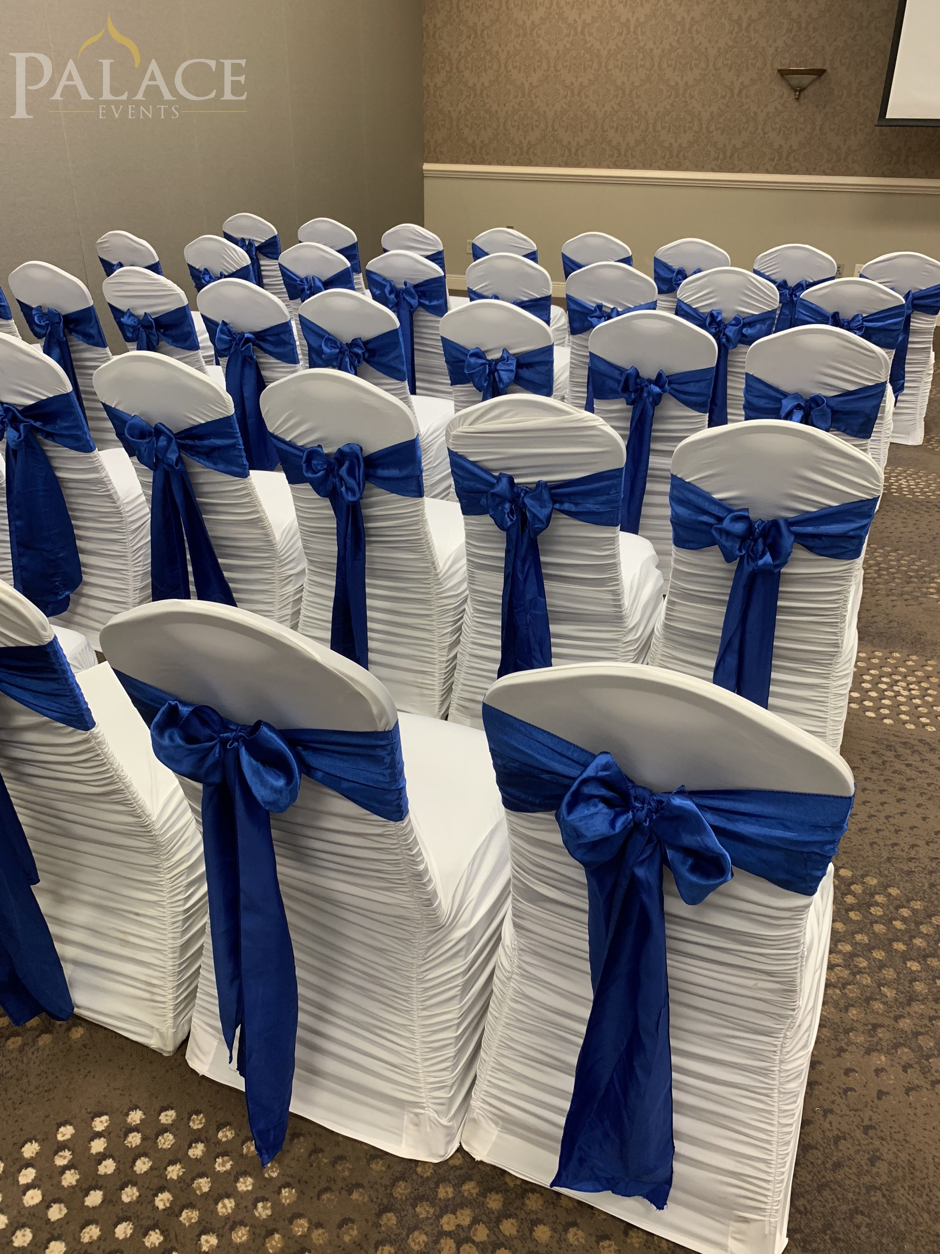 Chair Covers Amp Blue Sashes For Wedding Ceremony 10 20 2018