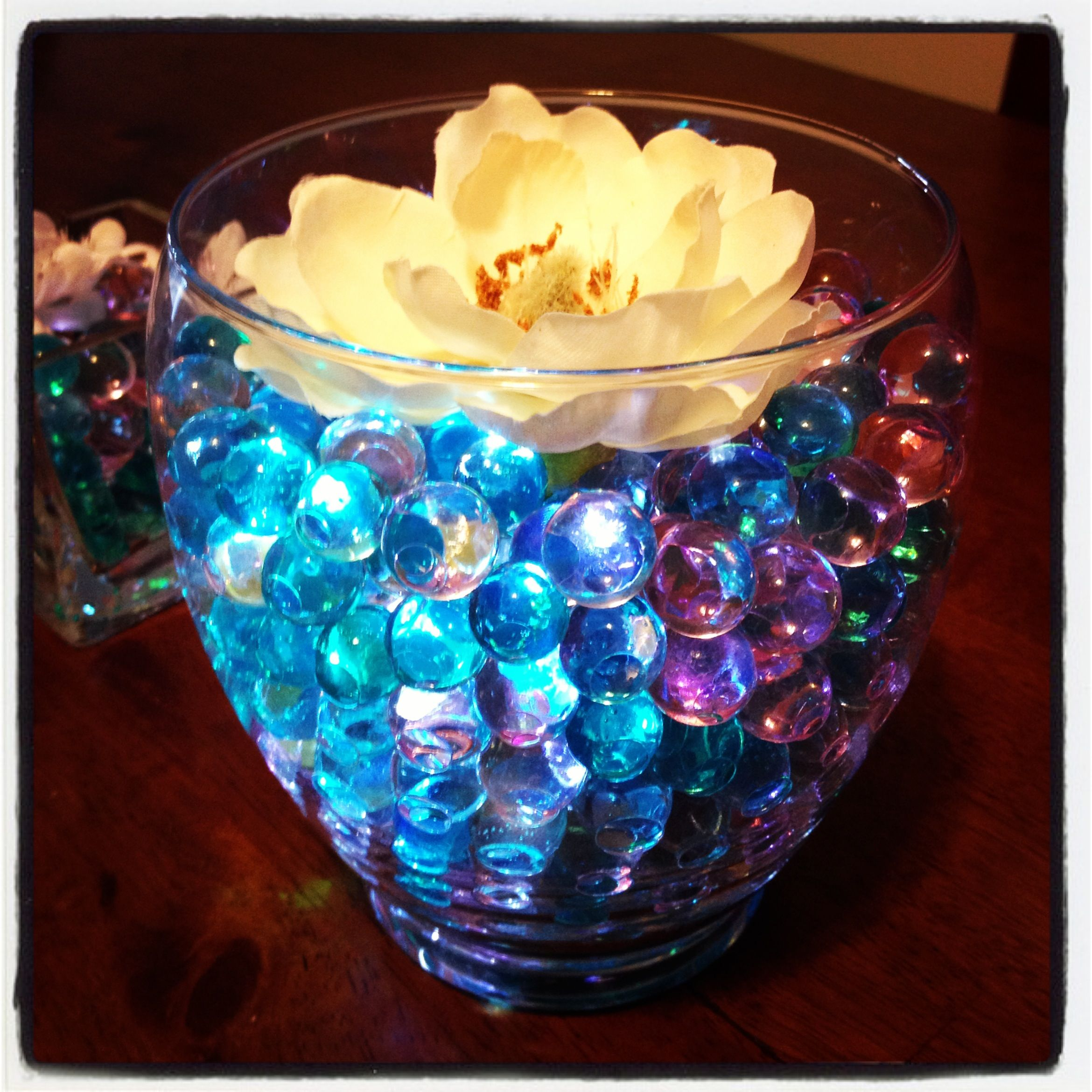 Cute Wedding Centerpiece Ideas: Centerpiece With Water Beads And Light! I Love The Color