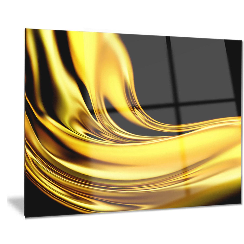 Designart \'Yellow Gold Texture Pattern\' Abstract Digital Art Metal ...