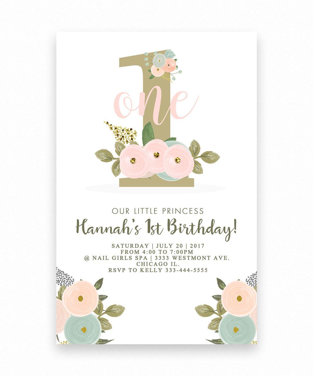 Birthday Invitation, Floral Big One 1st Birthday
