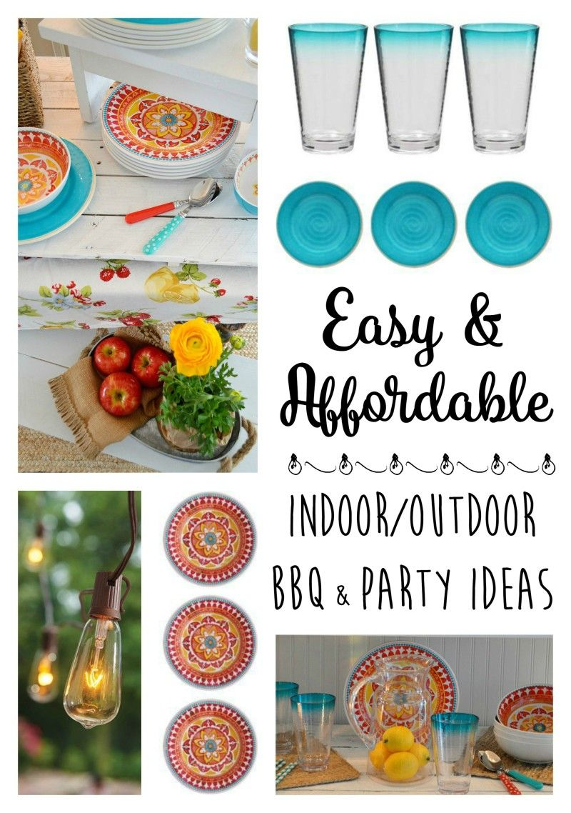 Dinner Party Entertaining Ideas Part - 39: Indoor Outdoor BBQ Party Entertaining Ideas - Casual Dinning - Festive Red  U0026 Aqua - Affordable Table Ware - Candles - Plants U0026 Flowers At Fox Hollow  Cottage