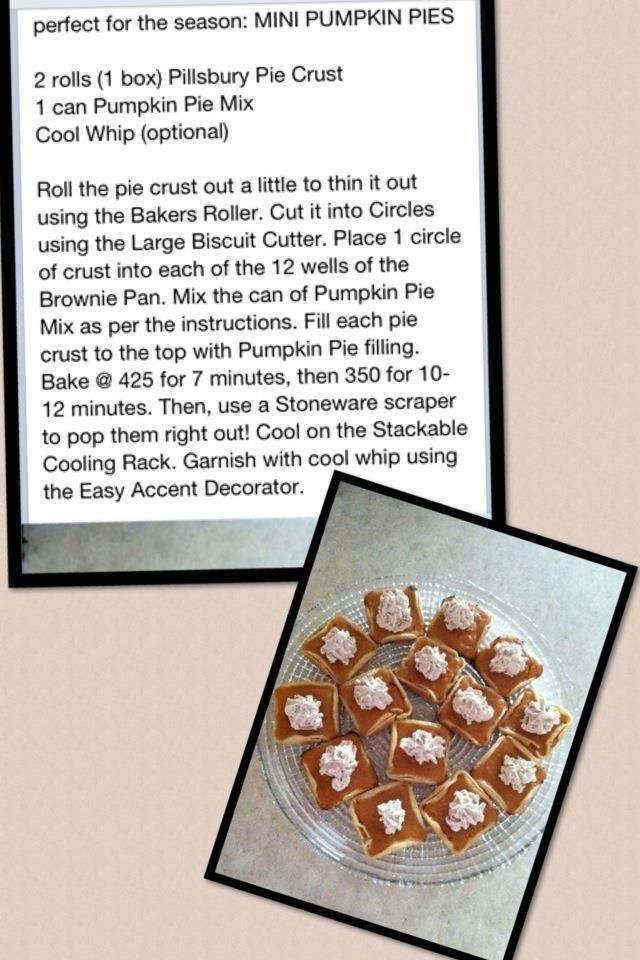Mini Pumpkin Pies Using The Pampered Chef Brownie Pan Pampered
