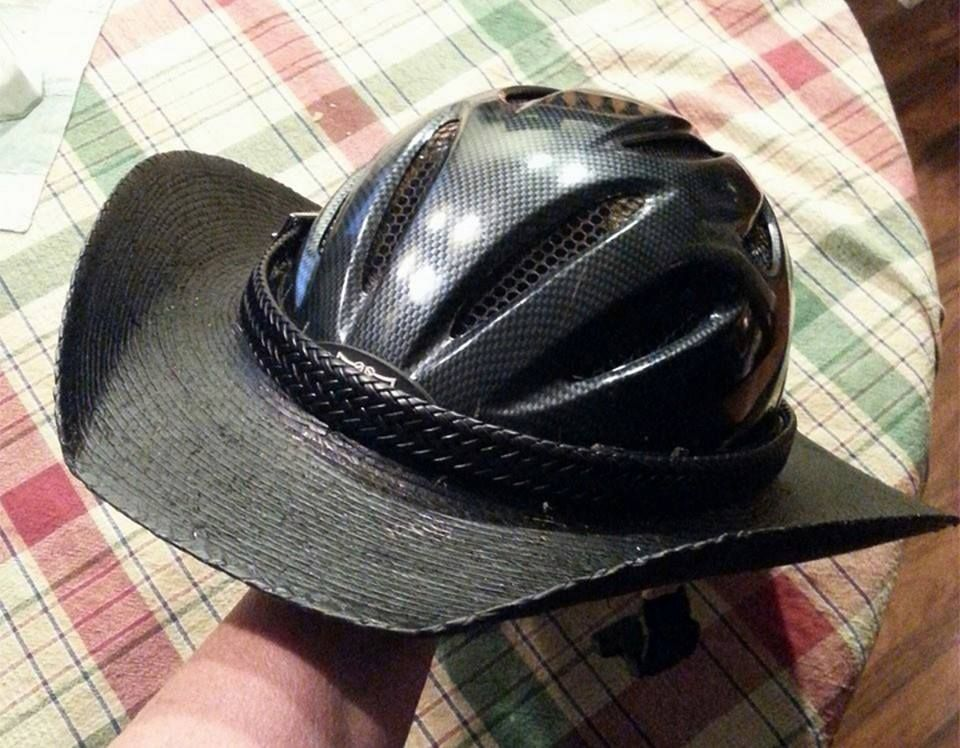Jerry  Chris Wilks-HellHats - use brim from a western hat and attach to  your helmet then add the hat band to hide the attached area. Looks awesome. 44d191c12df5