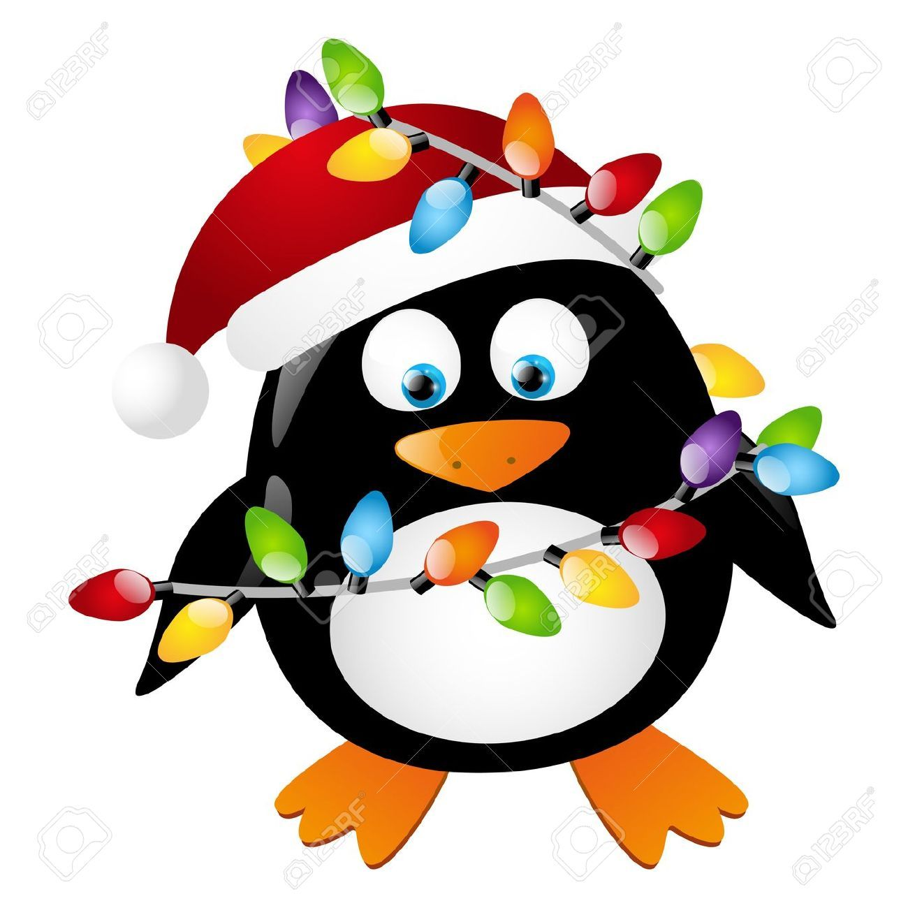 Penguin With Christmas Light Bulbs Royalty Free Cliparts ...