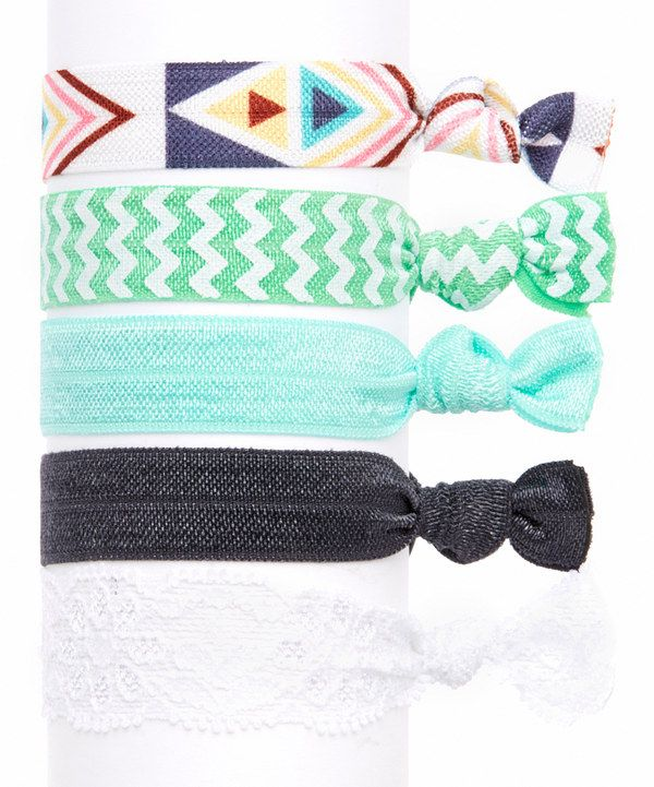 Take a look at this Mint & Gray Solid & Chevron Hair Tie Set on zulily today!
