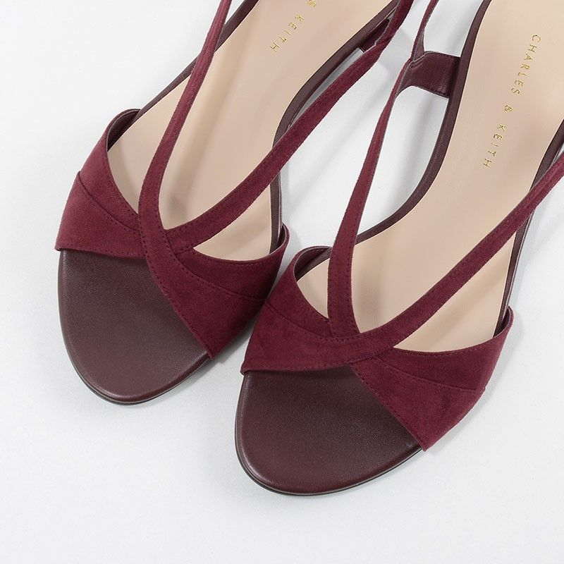 Crossover Sandals - Burgundy - Flats - Shoes | CHARLES & KEITH
