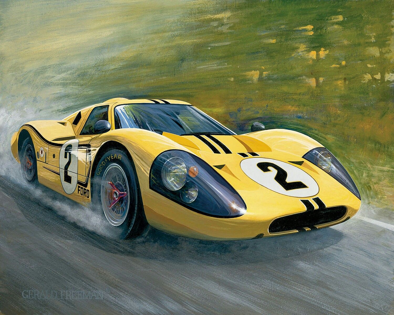 1967 Le Mans 24 Yellow Gt40 Depicts The Ford Gt40 Mk Iv Piloted By Bruce Mclaren Nz And Mark Donohue Usa Ford Gt40 Pintura De Autos Classic Sports Cars