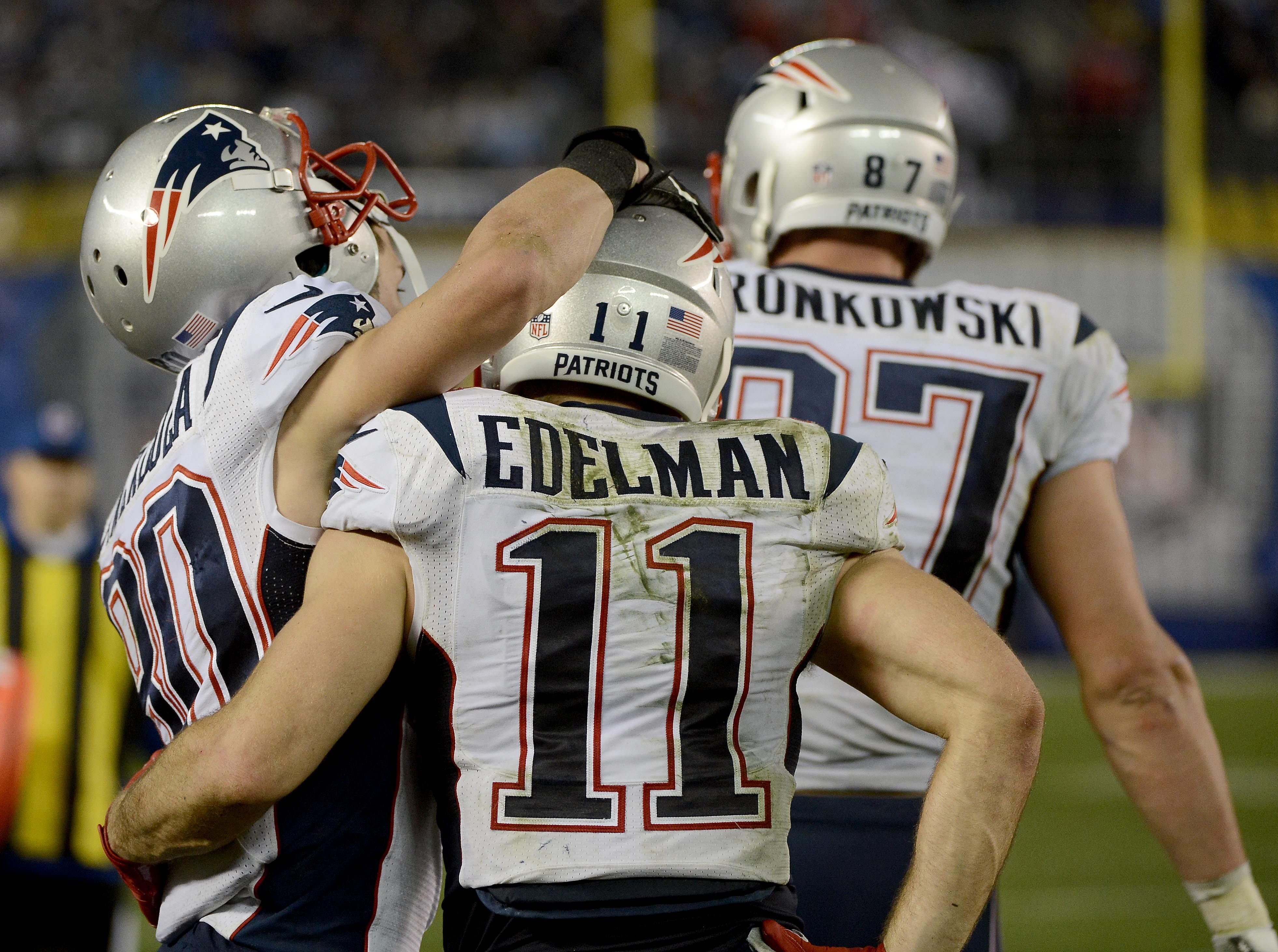 San Diego Ca December 7 Julian Edelman 11 Of The New England Patriots Celebrates His Touchdown With Teammates Julian Edelman New England Patriots Patriots