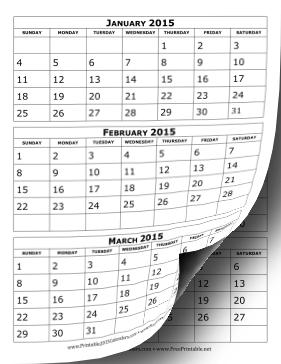 2015 Calendar Three Months Per Page Calendar | Calendar ...