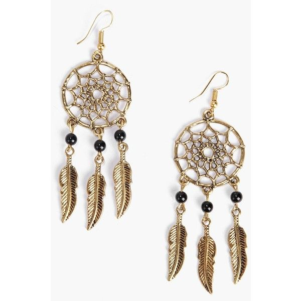 Boohoo Amber Dreamcatcher Earrings (£5.61) ❤ liked on Polyvore featuring jewelry, earrings, accessories, gold, earrings jewelry, sparkly earrings, ear cuff jewelry, amber jewellery and pendant necklace