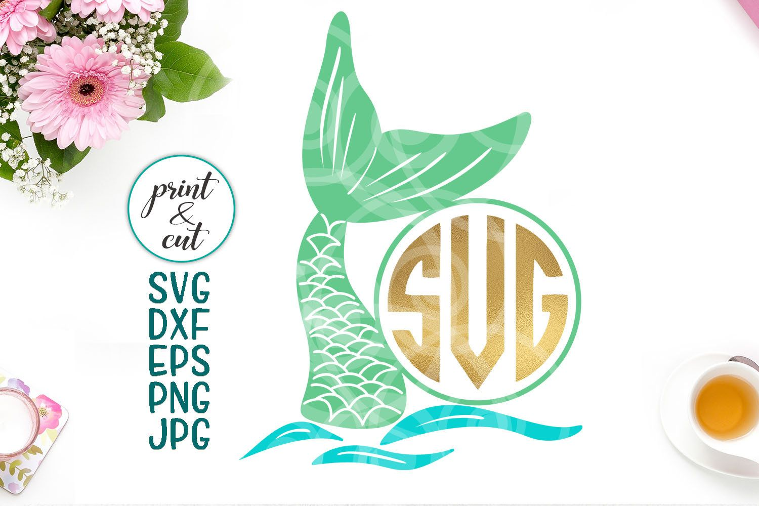 mermaid monogram svg, mermaid tail svg, mermaid svg