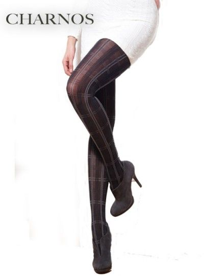 46b4d310f69 Charnos Plaid Opaque Tights from Alex Blake - The Online Hosiery Store
