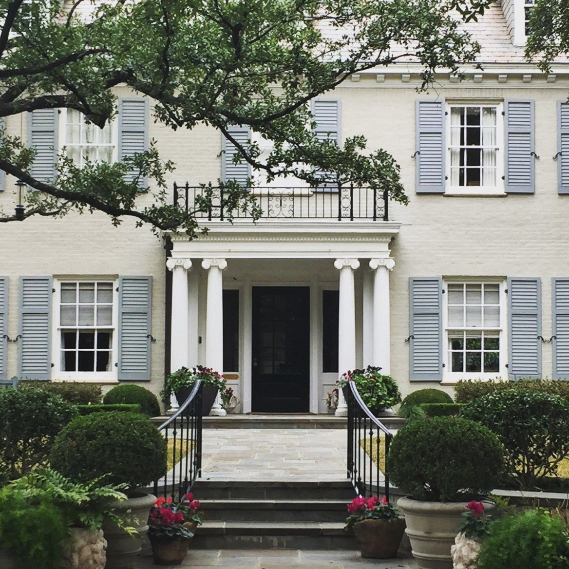 Window decorative shutters  dallas home by christina dandar for the potted boxwood  shutters