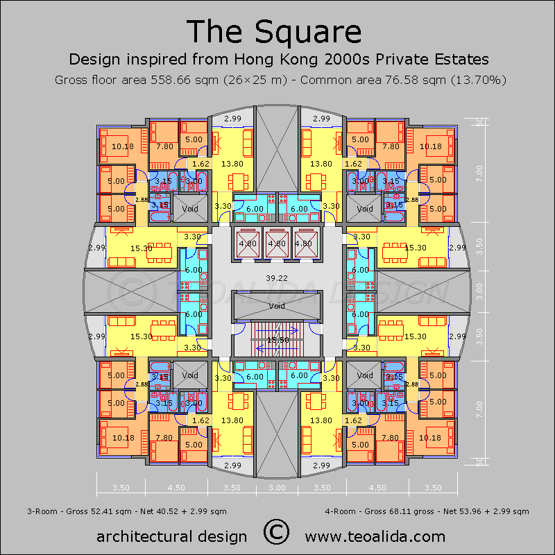 Hong kong square block apartman planlar pinterest for Apartment block floor plans