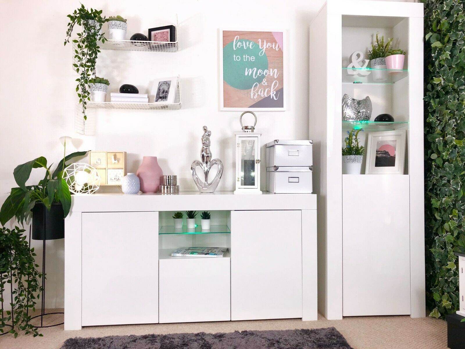 Details About Modern White Gloss Cabinet Cupboard Sideboard Glass Display Unit Blue Led Light Glass Display Unit Living Room Storage Modern Sideboard #white #living #room #storage #cabinets