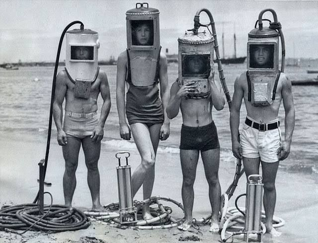 Yeah, like that's gonna work! 40s Scuba Diving Suits.