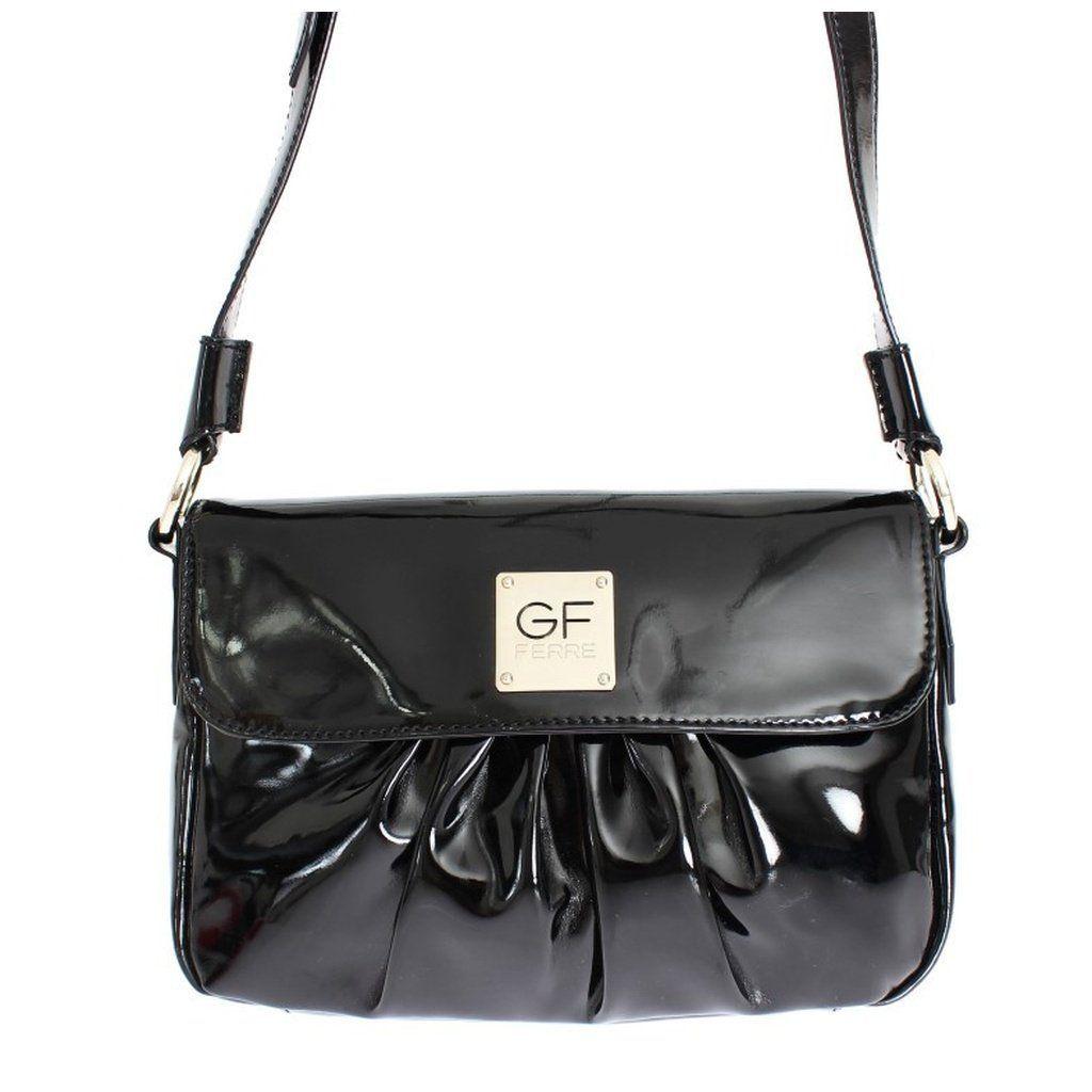 Gf Ferre Black Patent Shoulder Bag