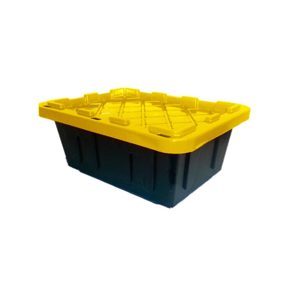 Hdx 5 Gal Heavy Duty Storage Bin Black Yellow In 2020 Heavy Duty Storage Bins Storage Yellow Storage