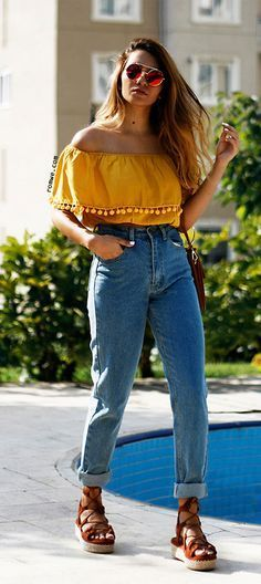 64c332f6709a0 Image result for yellow off the shoulder top