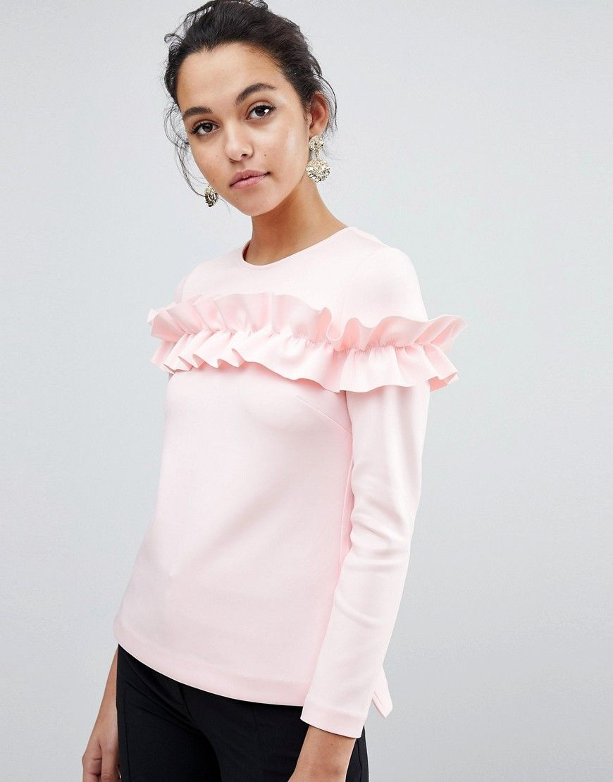 03d5e14ef2dde TED BAKER AIYA LONG SLEEVED TOP WITH STATEMENT RUFFLE FRONT - PINK.   tedbaker  cloth