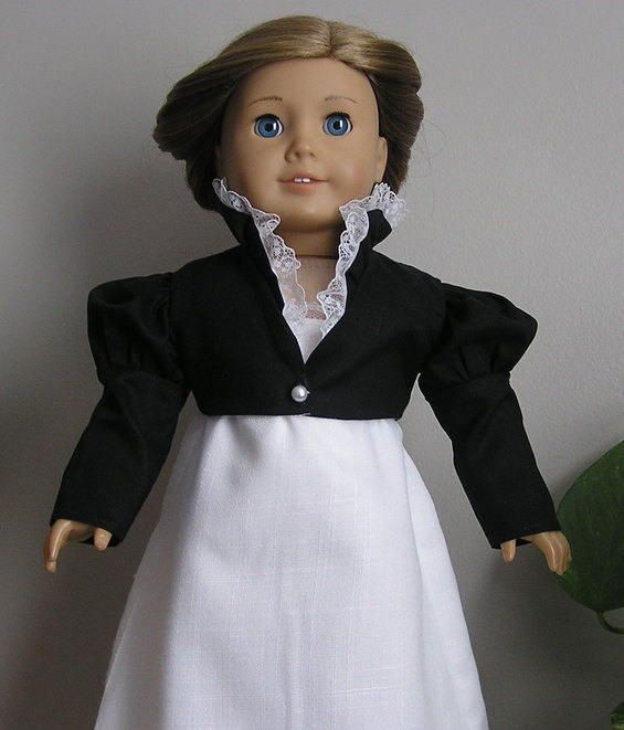 Black Cotton Feather Tail Spencer for AG or 18 Inch Doll