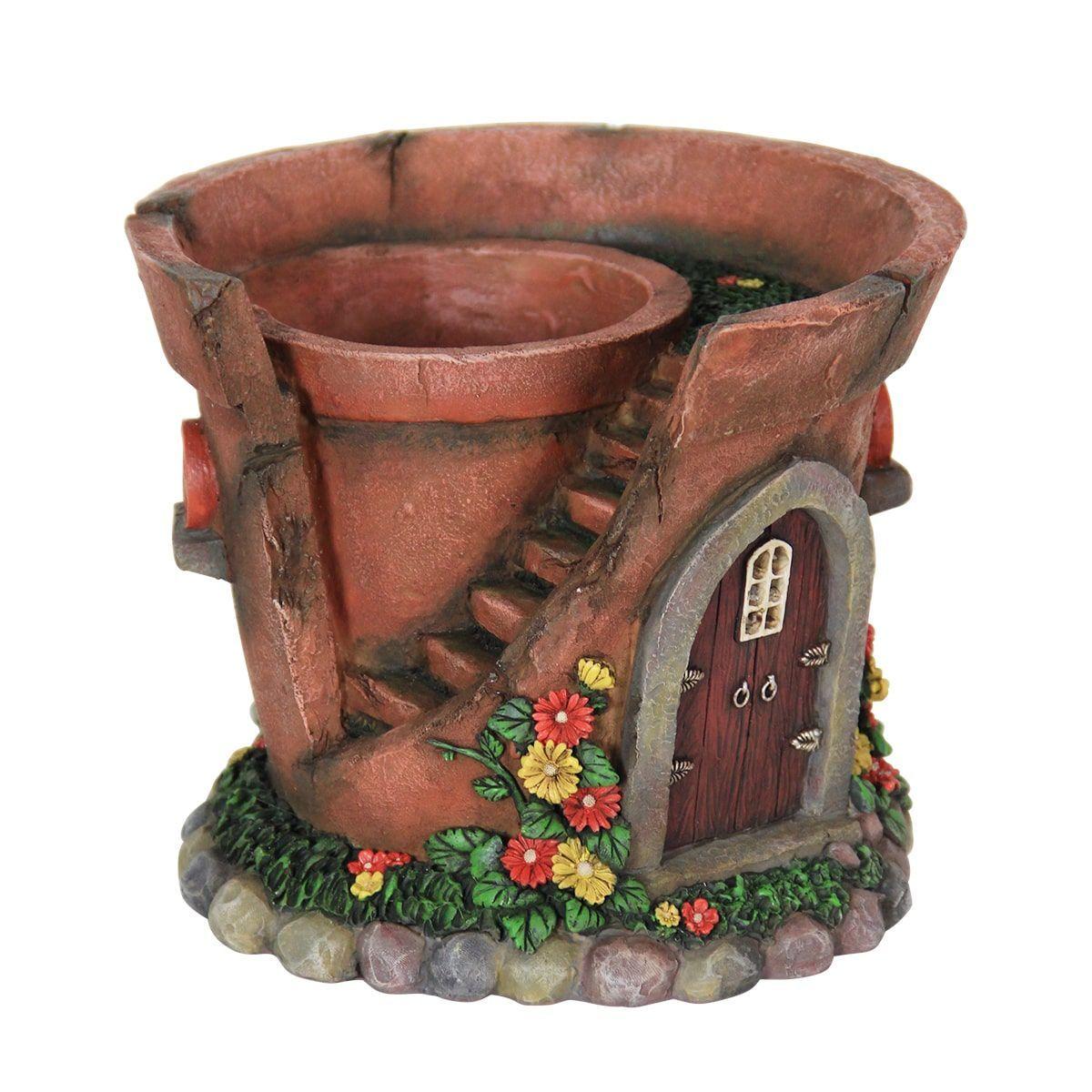 Exhart 7.5inch Solar Powered Fairy House Flower Pot