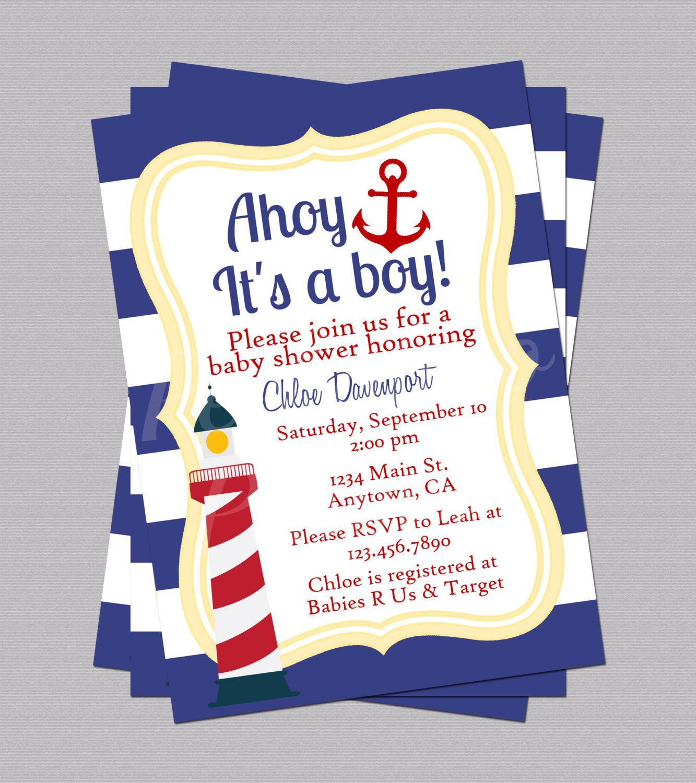 Nautical Baby Shower Invites, Anchor Invitations, Lighthouse Invite ...