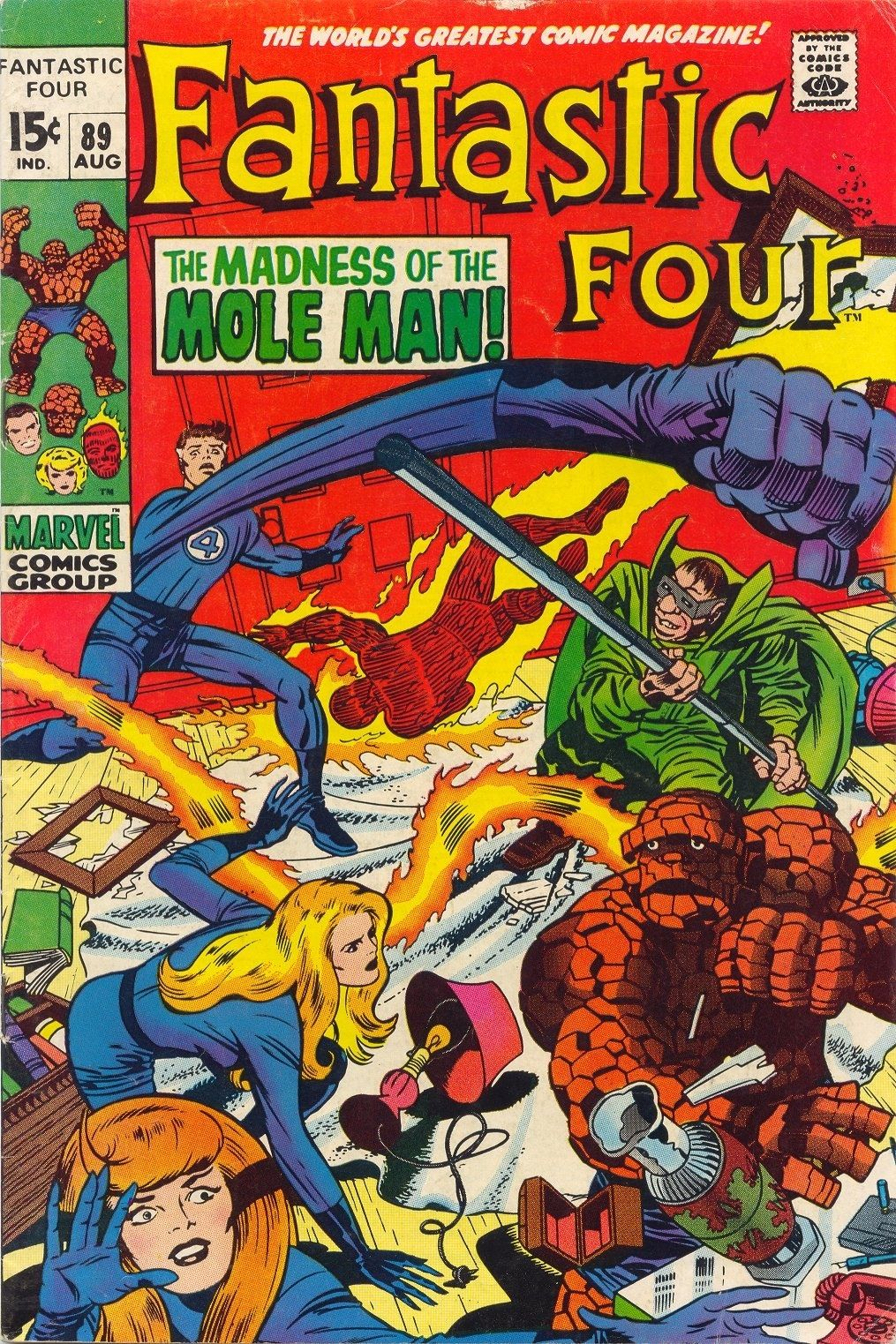 """Fantastic Four vol. 1 # 89, """"The Madness of the Mole Man"""" (August, 1969). Cover by Jack Kirby & Joe Sinnott."""