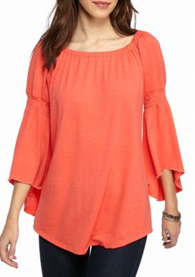 New Directions Coral Sash Smocked Peasant Sleeve Top