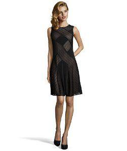 Haydenblack stretch jersey mesh inset flared dress