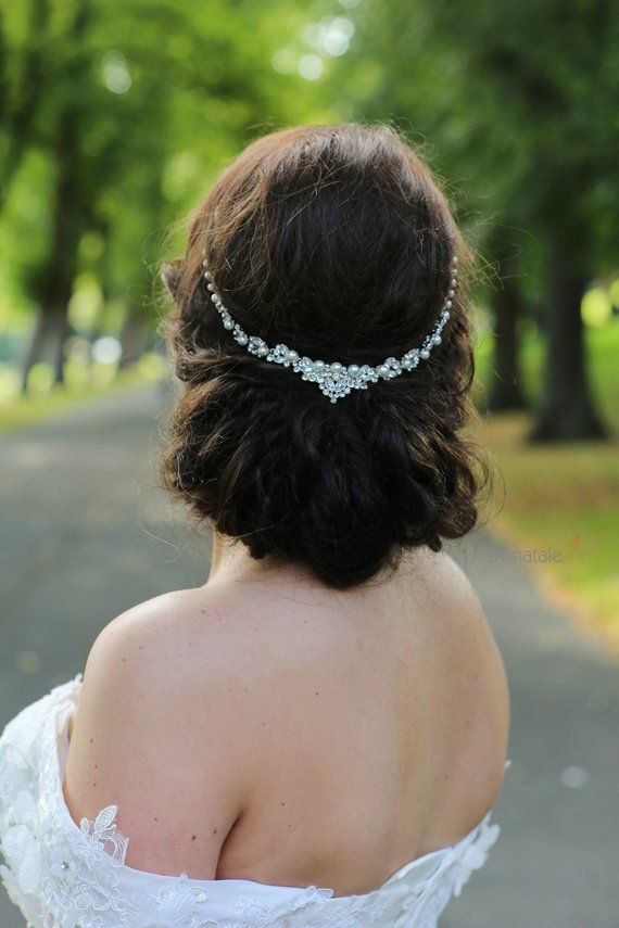 On Art Deco Hair Chain Pearl Headpiece Crystal And Piece Back Wedding Accessories Uk