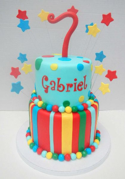 A Colorful Birthday Cake For A Very Special 7 Year Old Boy With