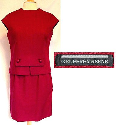 Georffrey Beane created well known vintage garments and this is just one of the examples of one that he made. He was a very popular designer and this dress is a 1960's two piece red dress suit!