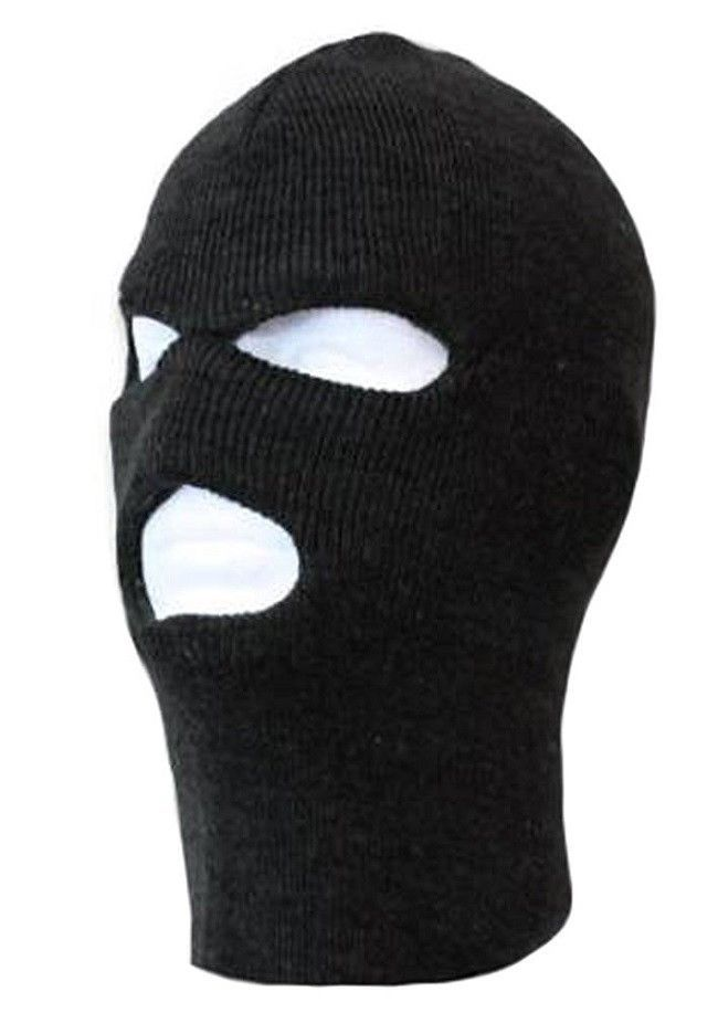 Three Hole Winter Thermal Face Mask Balaclava Winter Sports Ski Hat Black 43827a04c