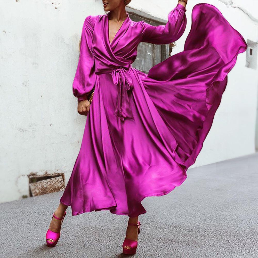 Elegant Purple V Neck Party Maxi Dresses Stylishvovo Party Skater Dresses Maxi Dress Party Evening Dresses [ 1000 x 1000 Pixel ]