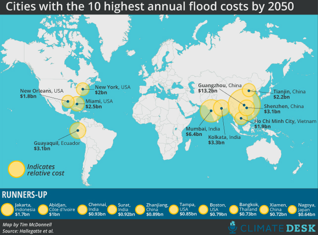 These 20 cities have the most to lose from rising sea levels The