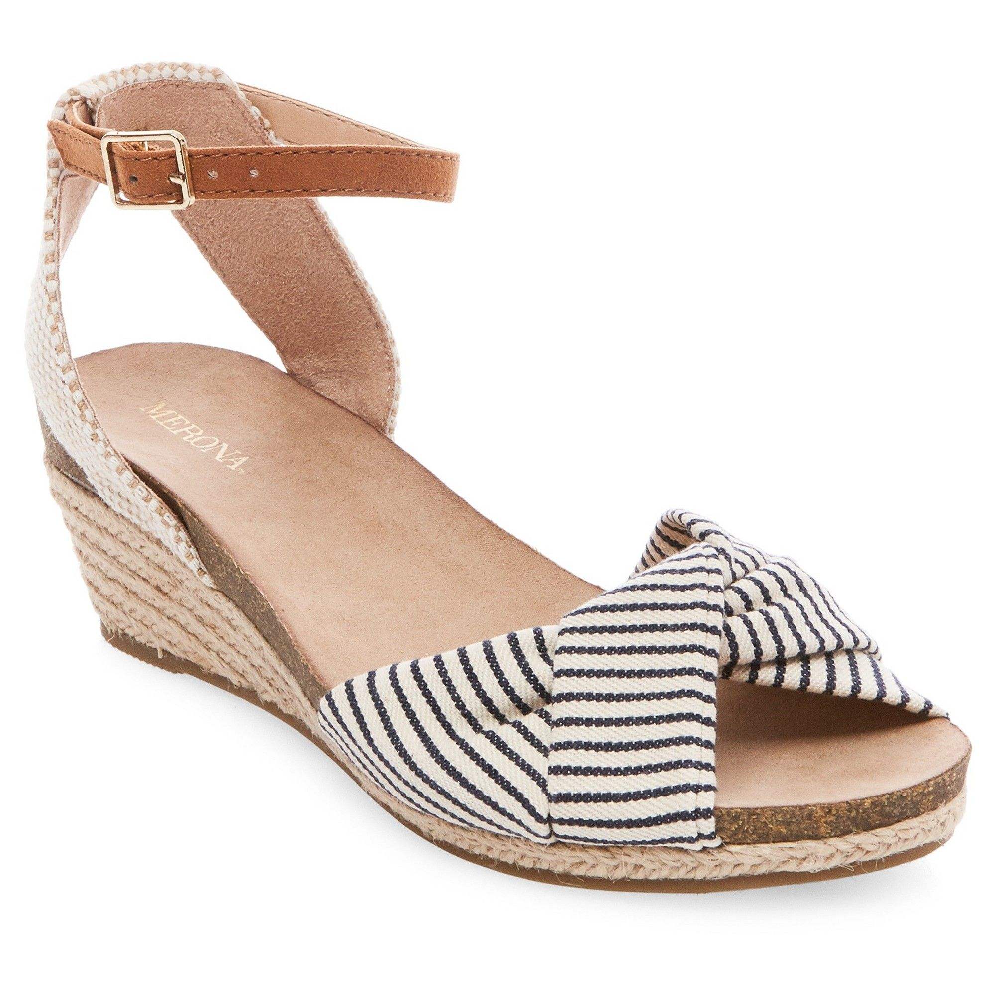 013c539059 Women's Brynn Footbed Wedge Quarter Strap Sandals - Merona Navy (Blue) 8.5
