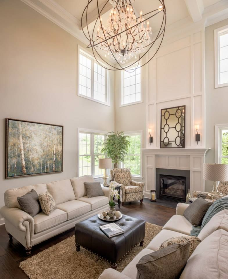 Neutral Living Room With Traditional Fireplace In 2019: Parade Of Homes 2015 Family Room Furnished By Martin
