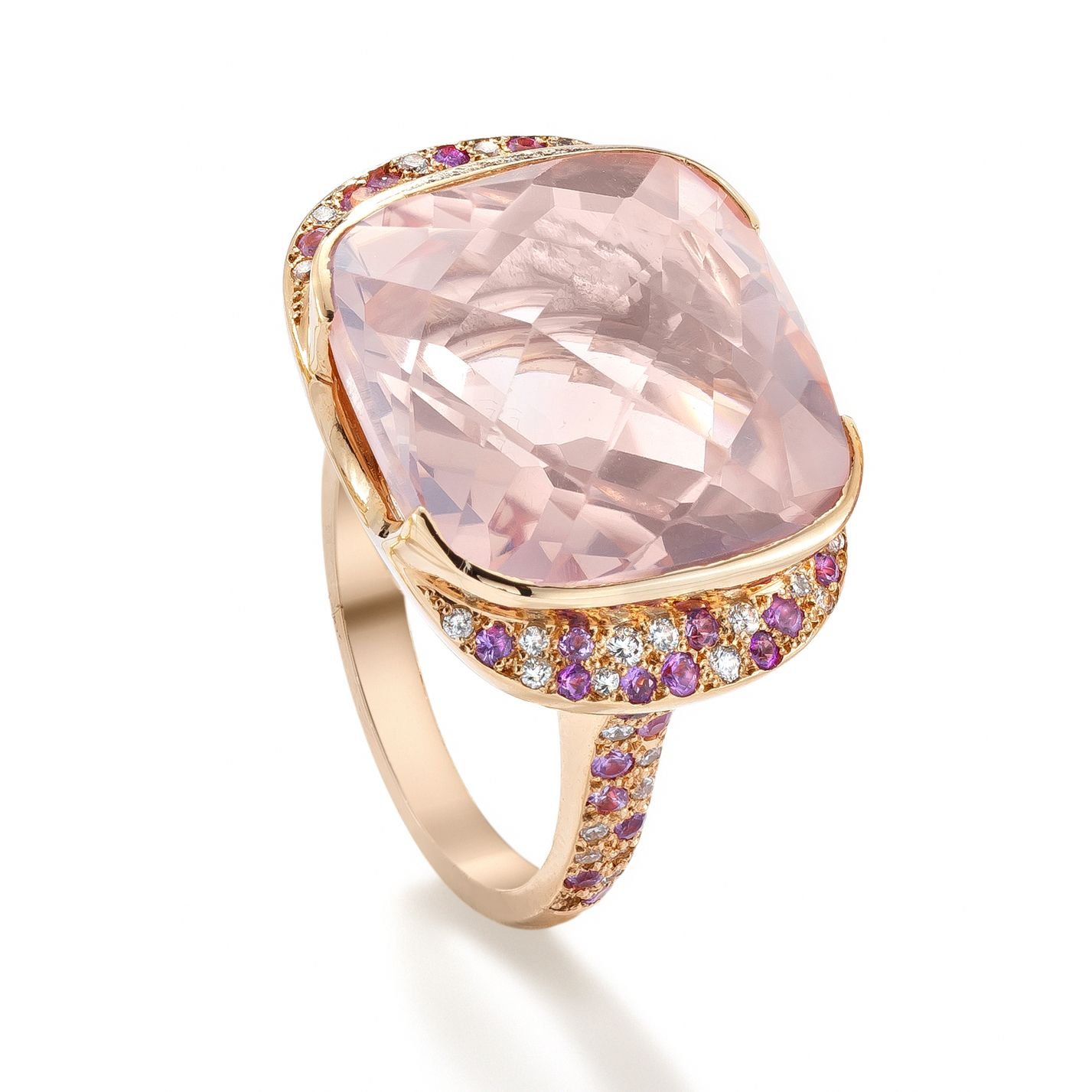 Capsule ring set with a chequerboard top rose quartz surrounded by ...