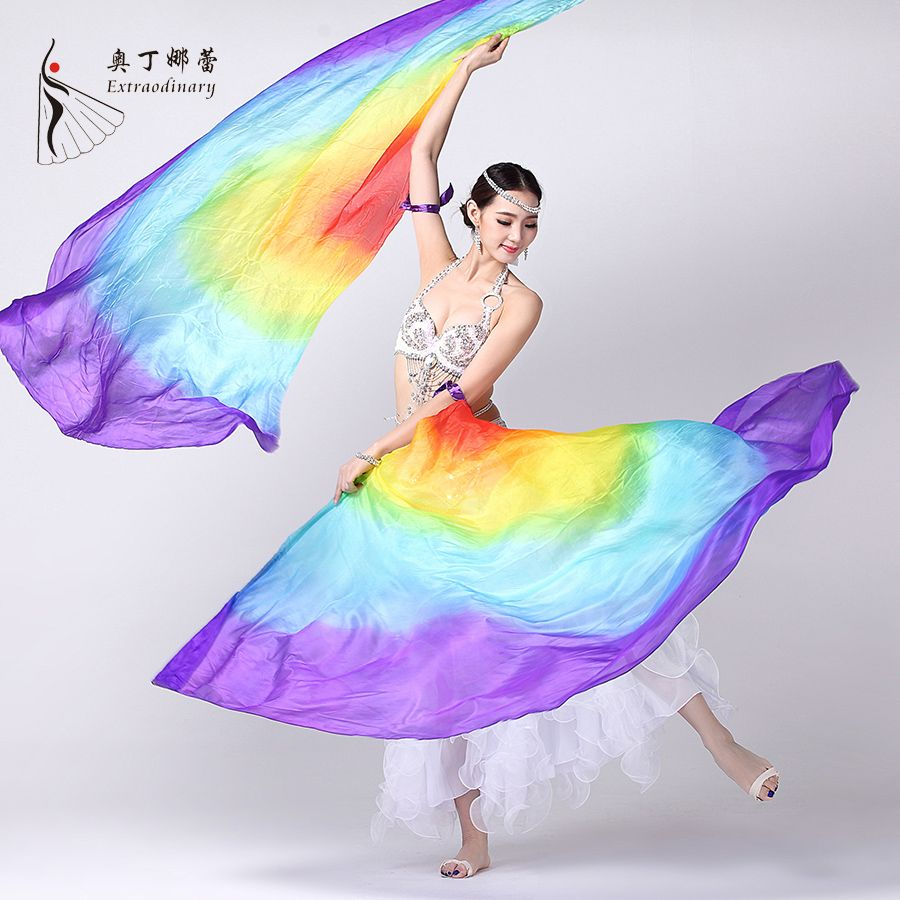 100/% Silk Belly Dance Stage Costume isis Wings Scarf Viel Fan Free Shipping