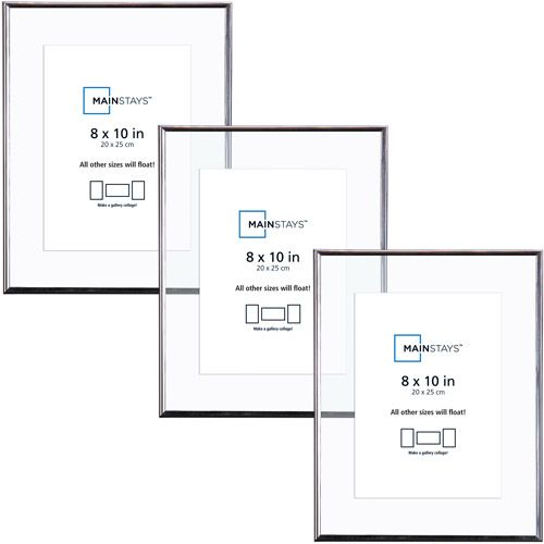 Mainstays 8x10 Float Photo Frames Silver Set Of 3 Floating Frame Silver Picture Frames Photo Frames