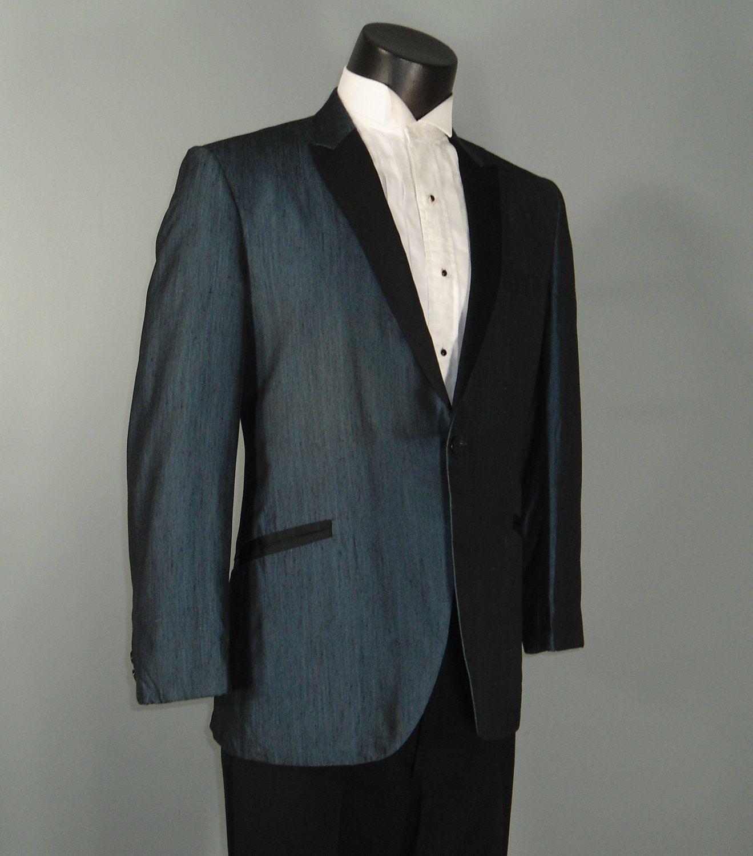 Vintage Mens Tux Jacket 1960s RUDOFKER Shiny Steel Blue Slubbed Silk ...