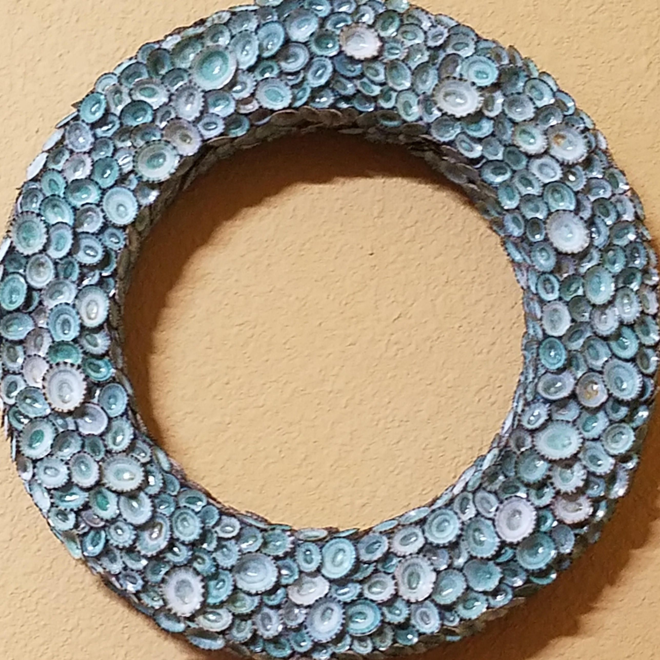 Aqua Sea Blue Green Limpet Shell Wreath Statement 20\