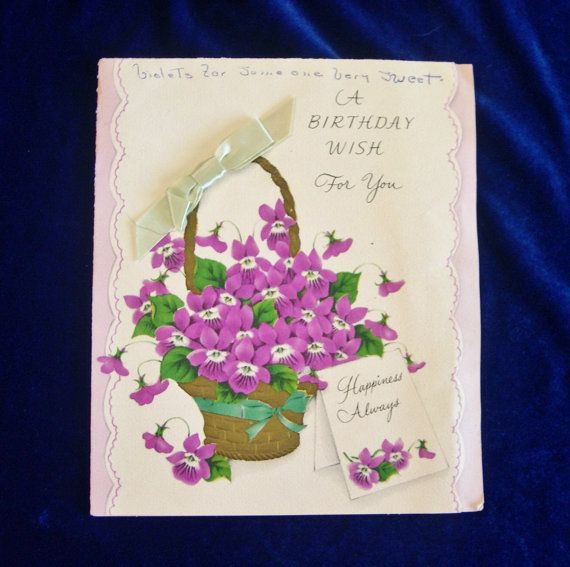 Beautiful 1940s american greetings birthday card with purple beautiful 1940s american greetings birthday card with purple violets bookmarktalkfo Gallery