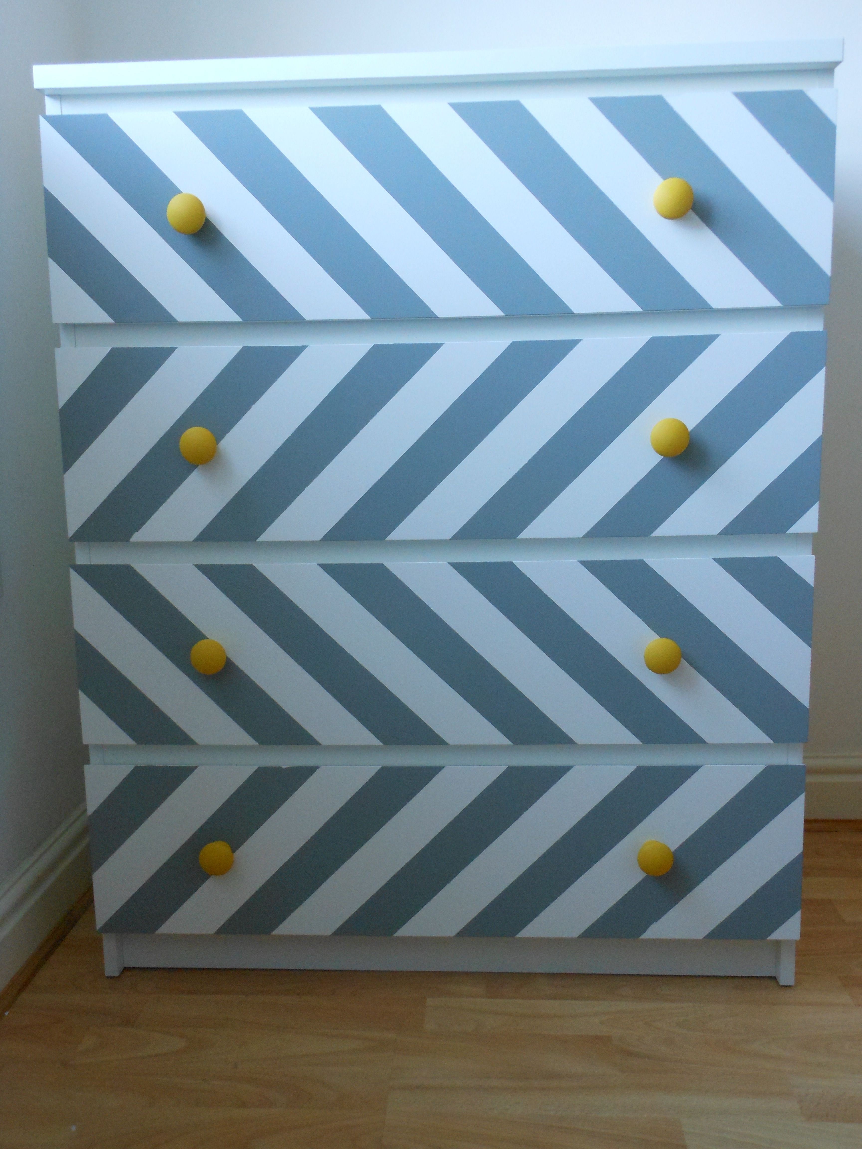my ikea hack a chest of malm drawers grey paint and masking tape lilys room diy craft. Black Bedroom Furniture Sets. Home Design Ideas