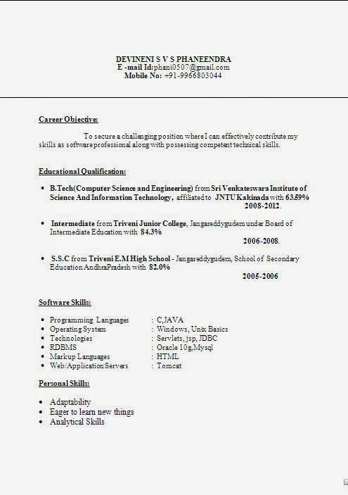 curriculum format template Sample Template Example ofExcellent ...