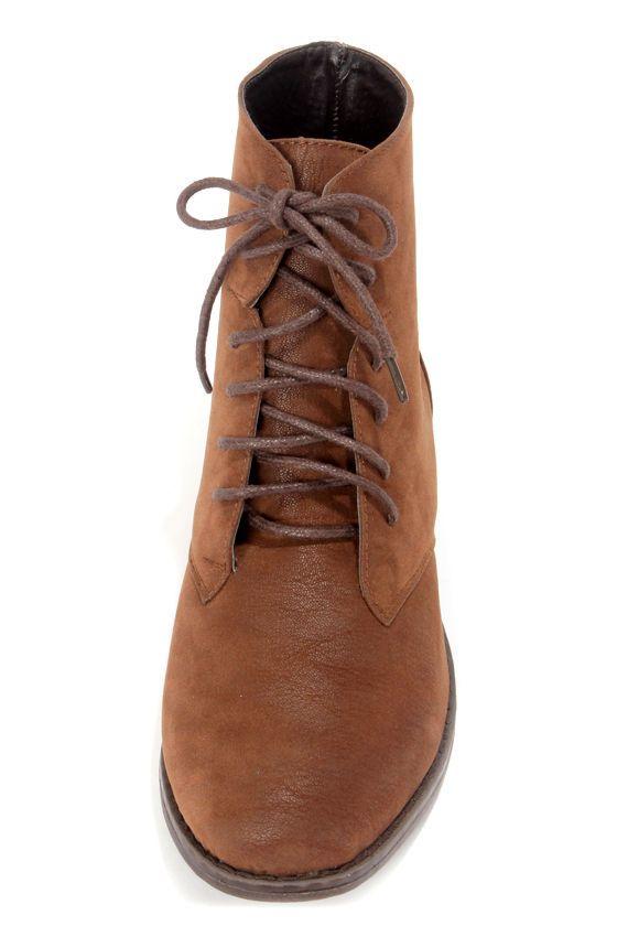 8078d3c4fa8 Dollhouse Dandy Chestnut Brown Suede Lace-Up Ankle Boots | pour mon ...