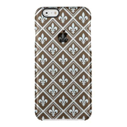 pale blue,fleur de lis,royal,tartan,brown,pattern, uncommon clearly™ deflector iPhone 6 case