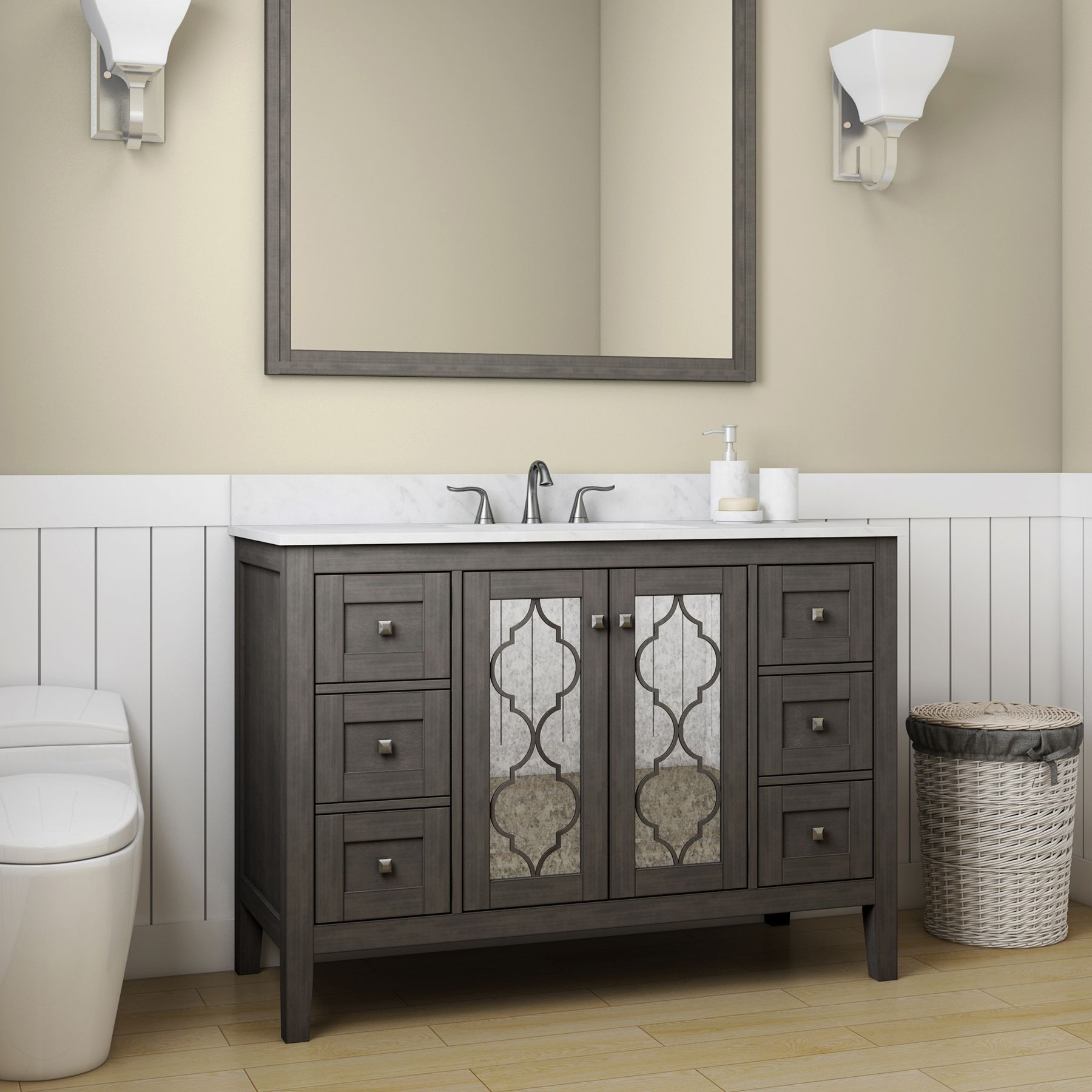 Allen Roth Everdene 48 In Grey Single Sink Bathroom Vanity With Carrera White Engineered Stone Top Lowes Com Bathroom Sink Vanity Bathroom Vanity Single Sink Bathroom Vanity