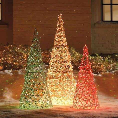 Lighted Cone Trees Knock off idea paint tomato cages  use net